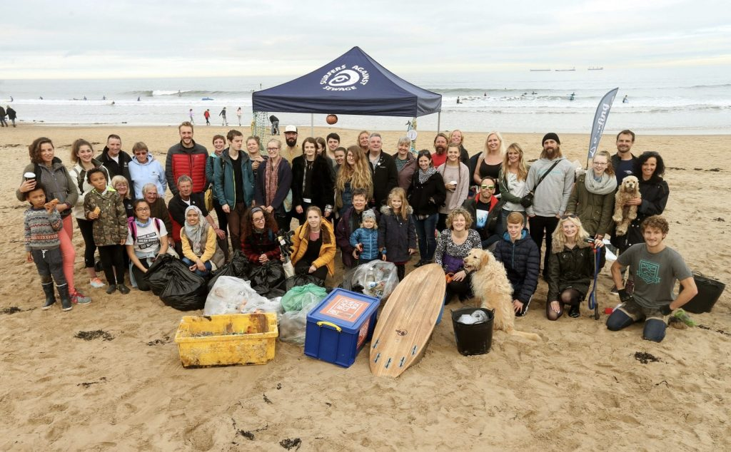 SAS Beach clean gathering from Tynemouth