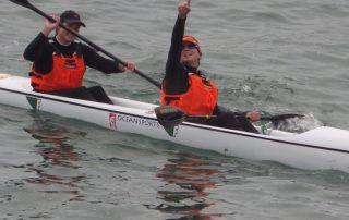 Tarryn Brown and Chloe Bunnett finishing the Celtic Crossing